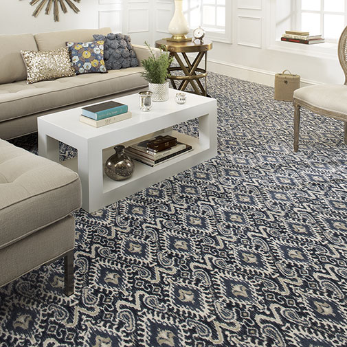 Artisan is a large scale Ikat pattern inspired by the handcrafted textiles of Central Asia.